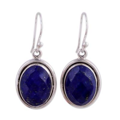 Lapis Lazuli Earrings Sterling Silver Jewelry from India