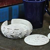 Soapstone coasters, 'Leaves' (set of 6) - Soapstone coasters (Set of 6)