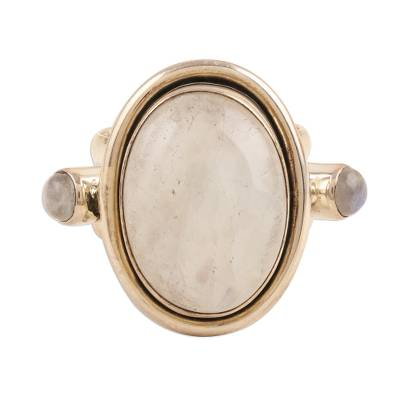 Sterling Silver Rainbow Moonstone Cocktail Ring