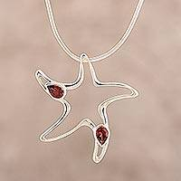 Garnet pendant necklace, 'Starfish' - Artisan Crafted Garnet and Sterling Silver Sea Life Jewelry