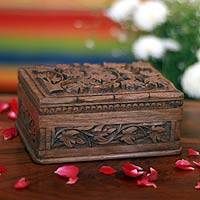 Wood jewelry box, 'Forever' - Hand Carved Leaf jewellery Box