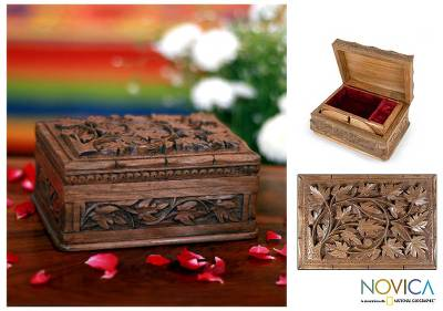 Wood jewelry box, 'Forever' - Hand Carved Leaf Jewelry Box
