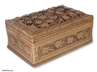 Hand Carved Wood Jewelry Box