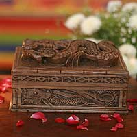 Wood jewelry box, 'Dragon Fortunes' - Carved Wood jewellery Box