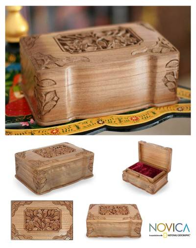 Walnut jewelry box, 'Eternal Attraction' - Fair Trade Floral Wood Jewelry Box