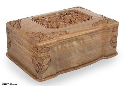 Fair Trade Floral Wood Jewelry Box