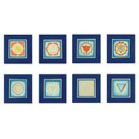 Tantric paintings, 'Eight Chakras' (set of 8) - Tantric paintings (Set of 8)