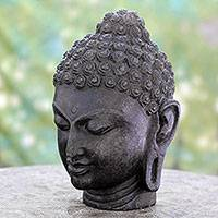 Granite sculpture, 'Buddha's Peaceful Presence' - Granite Hand Carved Buddha Stone Sculpture from India