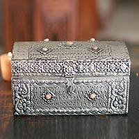 Brass jewelry box, 'Blossoming Clouds' - Original Brass Jewelry Box from India