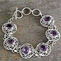 Amethyst link bracelet, Lilac Dew - Amethyst and Sterling Silver Bracelet from India