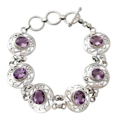 Amethyst and Sterling Silver Bracelet from India
