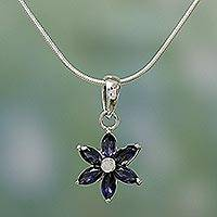 Iolite choker, 'Ocean Daisy' - Floral jewellery Iolite and Sterling Silver Necklace