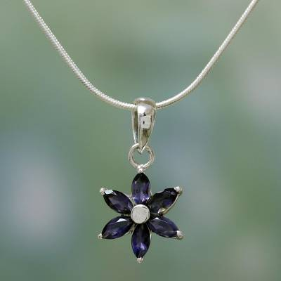 Iolite choker, 'Ocean Daisy' - Floral Jewelry Iolite and Sterling Silver Necklace