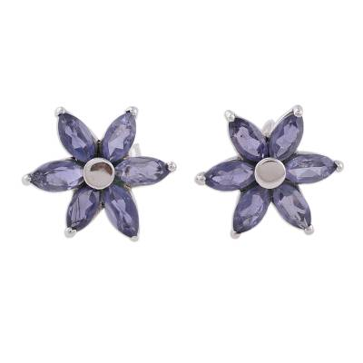Iolite Earrings Hand Crafted Sterling Silver Button Jewelry