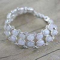 Rainbow moonstone link bracelet, 'Enchanted Mystery' - Good Fortune Sterling Silver Wristband Moonstone Bracelet
