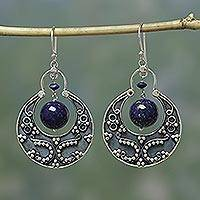 Lapis lazuli earrings, 'Royal Moon' - Unique Sterling Silver Lapis Lazuli Earrings with Flair