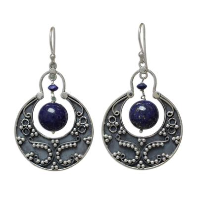 Sterling Silver Lapis Lazuli Earrings Artisan Jewelry