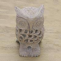 Soapstone sculpture, 'Lattice Owl' - Natural Soapstone Hand Carved Sculpture