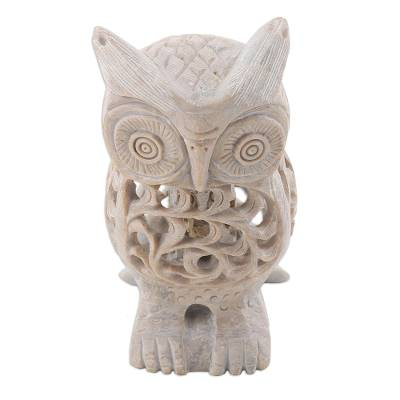 Natural soapstone hand carved sculpture lattice owl novica