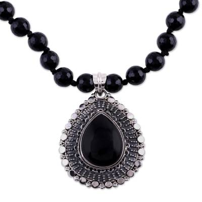 Onyx and Sterling Silver Necklace Fair Trade Jewelry