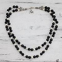 Onyx and pearl necklace, Midnight Angel