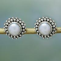 Pearl button earrings,