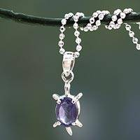 Iolite pendant necklace, 'Crystal Turtle' - Handcrafted Sterling Silver and Iolite Pendant Necklace