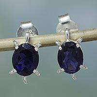 Iolite button earrings, 'Crystal Turtle' - Artisan jewellery Earrings Sterling Silver and Iolite
