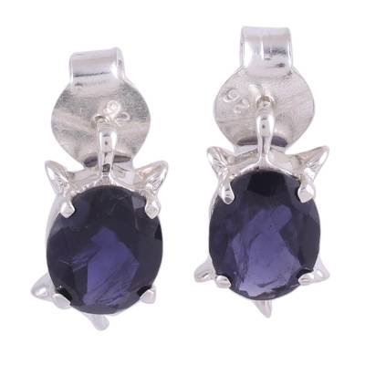 Artisan Jewelry Earrings Sterling Silver and Iolite