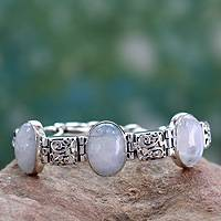 Moonstone link bracelet, 'Floral Legends' - Fair Trade Sterling Silver Floral Moonstone Bracelet