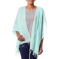 Wool shawl, 'Sea Green Dream' (India)