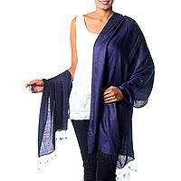 Silk shawl, 'Night Sky' (India)