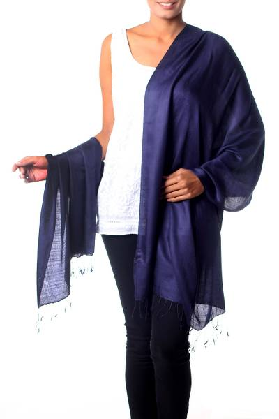 Silk shawl, 'Night Sky' - Silk Shawl Wrap Handwoven Collectible Solid Blue