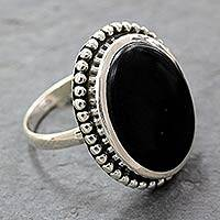 Onyx cocktail ring, 'Mysterious Moon' - Women's Handcrafted Onyx Cocktail Ring from India