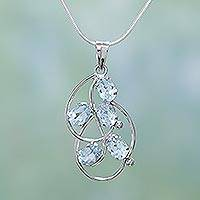 Blue topaz pendant necklace, 'Jasmine' - Blue topaz pendant necklace