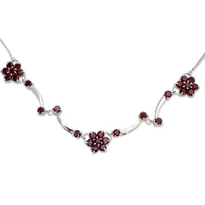 Artisan Crafted Sterling Silver and Garnet Floral Pendant Necklace