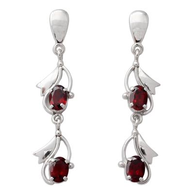 Fair Trade Sterling Silver Garnet January Birthstone Dangle Earrings