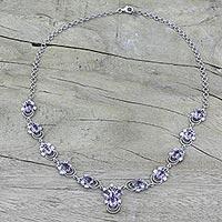 Amethyst pendant necklace, 'Mystical Butterflies' (India)