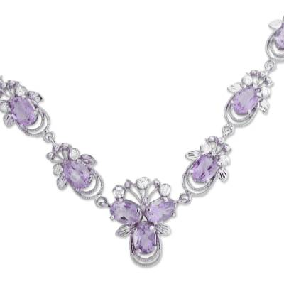 Rhodium Plated Silver and Amethyst Pendant Necklace