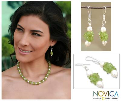 Pearl and peridot earrings, 'Marshmallow and Lime' - Artisan Crafted Peridot and Pearl Earrings from India