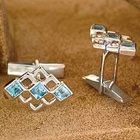 Sterling silver cufflinks, 'Blue Quadrants' - Fair Trade Sterling Silver Blue Topaz Men's Cufflinks