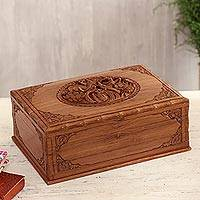 Walnut jewelry box, 'Birds in Spring' - Unique Wood Jewelry Box