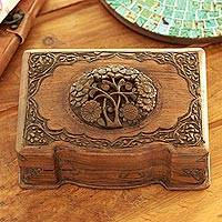 Walnut jewelry box, 'Victorian Bouquet' - Hand Carved Walnut Wood jewellery Box
