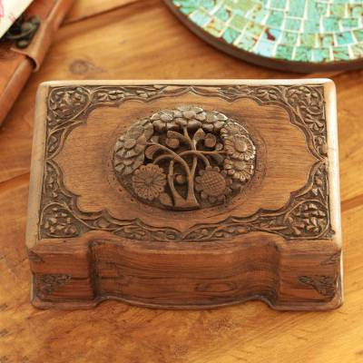 Walnut jewelry box, 'Victorian Bouquet' - Hand Carved Walnut Wood Jewelry Box