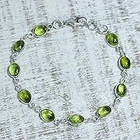 Peridot link bracelet, 'Elegant' - Peridot and Sterling Silver Link Bracelet from India