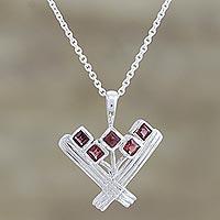 Garnet pendant necklace, 'Red Tulips' (India)