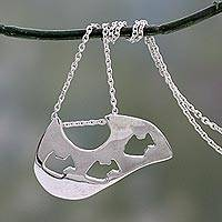 Necklace, 'Fish Trio' - Handcrafted Sterling Silver Pendant Necklace