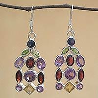 Amethyst and garnet dangle earrings,