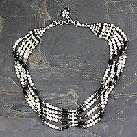 Pearl and onyx collar, 'Ravishing Beauty' - White Pearls and Black Onyx Indian Choker Necklace