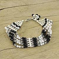 Pearl and onyx wristband bracelet,